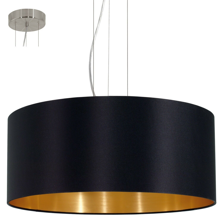 EGLO Hängeleuchte Maserlo in Textil schwarz, Gold 3X60W H 110 Ø 53cm