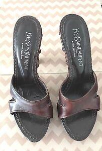 a6ea881d2d0 Yves Saint Laurent Rive Gauche Women's Brown Leather Wood Stud ...