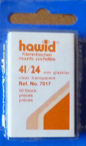 HAWID-STAMP-MOUNTS-CLEAR-Pack-of-50-Individual-41mm-x-24mm-Ref-No-7017
