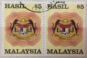 Malaysia Used Revenue Stamps - 2 pcs $5 Stamp (Old Design Big Size)