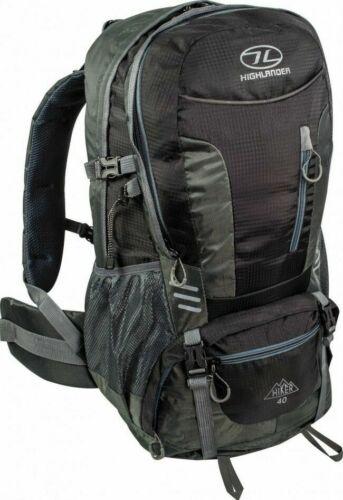 Highlander Hiker 40L Litre Walking Hiking Backpack Rucksack Raincover Black