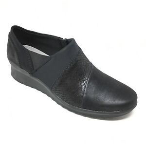 Women-039-s-Clarks-Cloudsteppers-Clogs-Booties-Shoe-Size-11M-Black-Leather-Wedge-R7