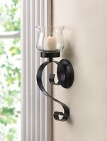 Wall Sconce 4 Black Iron Scrolling Fluted Glass Candle Cup Holder New10015371 Home Furnishings