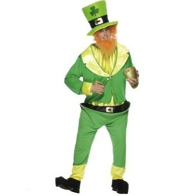 Mens Irish Fancy Dress Leprechaun Costume St Patrick's Day Green Outfit Stag Do