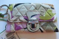 Vera Bradley Quick Swipe Id Portobello Road-floral-gray Purple Key Ring Id Slot