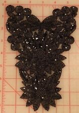 "Absolutely beautiful vintage black applique beaded sequins flower design 8.5"""