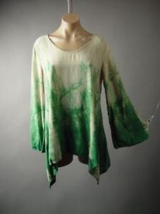 Tie-Dye-Handkerchief-Hem-Earthy-Boho-Fairy-Pixie-Top-Blouse-243-mv-Tunic-S-M-L