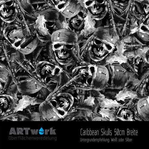 Wassertransferdruck Folie WTD Caribbean Skulls 1m x 50cm Breite