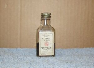 Vtg-EASTMAN-KODAK-Sizing-Fluid-1oz-Glass-Bottle-Camera-Dark-Room-Developing-J600
