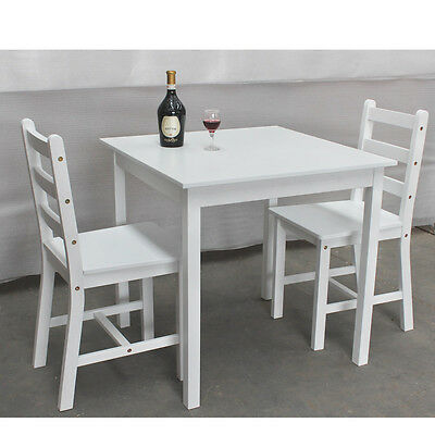 Wooden Small Dining Table and 2 Chairs Set Contemporary White/Grey/Natural Pine