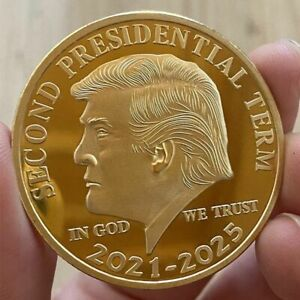 2 TRUMP COIN CHALLENGE in WOOD BOX PRES INAUGURATION EAGLE SEAL GOLD ENAMEL =TWO