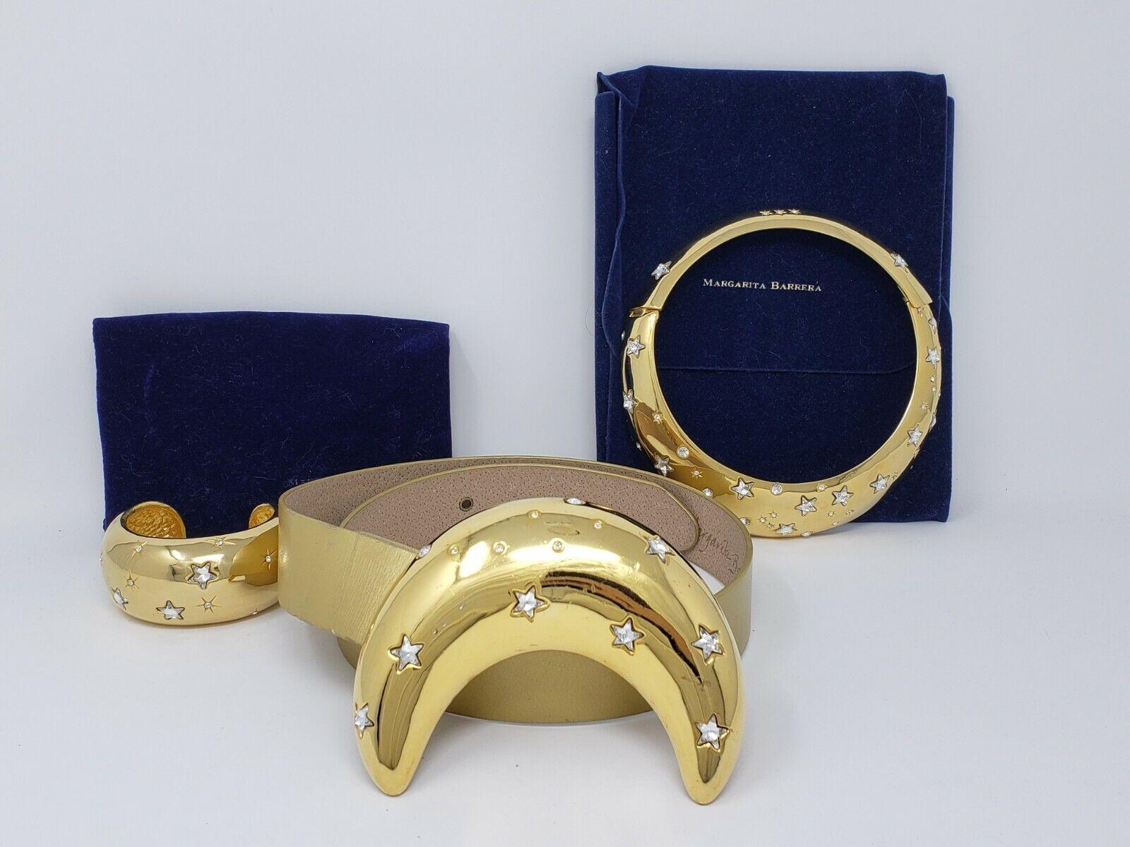 MARGARITA BARRERA Moon & Stars-Gold Plated Buckle, Choker, Bracelet & Belt Set