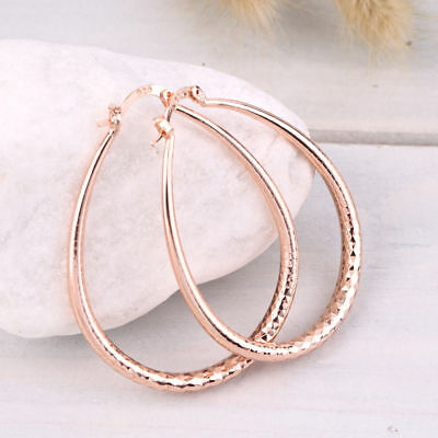 "Women's Fashion Jewelry Rose Gold Plated ""U' Shaped Hoop Earrings"