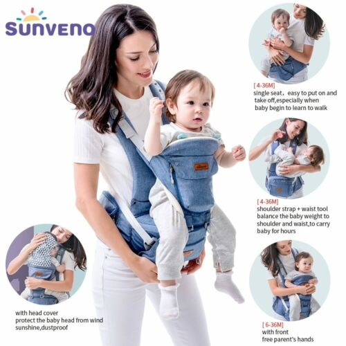 SUNVENO Ergonomic Baby Carrier Infant Baby Hipseat Waist Carrier Front Facing
