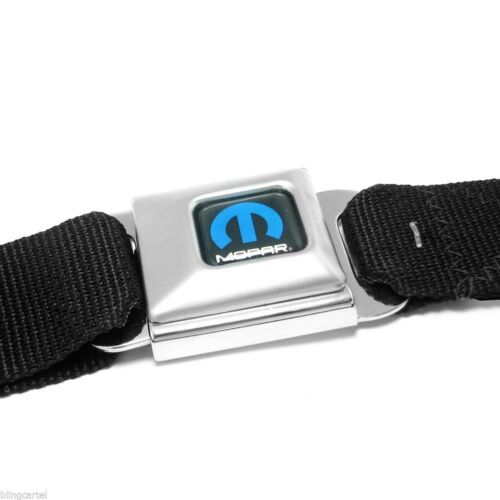 Mopar Blue Logo Licensed Black Seatbelt Authentic Seat Belt Style Buckle Down
