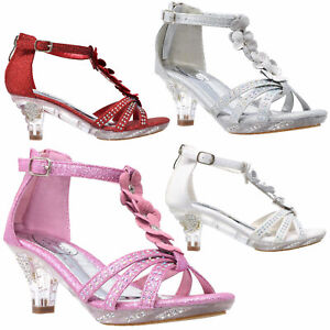 bcf076967a2 Details about Girls High Heels Clear Kids Dress Sandals T-Strap Flower  Glitter Rhinestone
