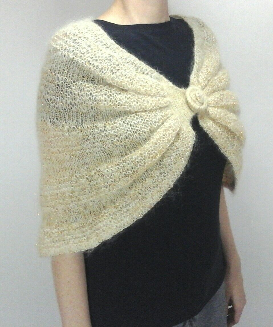 Marciano GUESS Cape Sweater Shrug Cream gold Dressy Formal Women's One Size