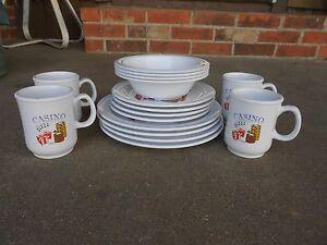 Image is loading NuStone-Melamine-CASINO-16-Pc-Dinner-Plate-Bowls- & NuStone Melamine CASINO 16 Pc Dinner Plate Bowls Dessert Plate Cups ...