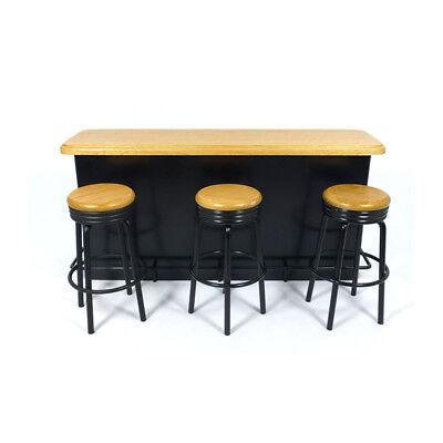 CREAL 30920 bartheke con 3 taburetes negro 1:12 para casa de muñecas nuevo #