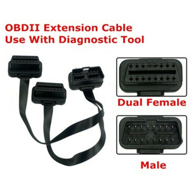 Flat 16Pin ELM327 OBD2 Male Dual Female Y Splitter Elbow Extension Cable Lea LL