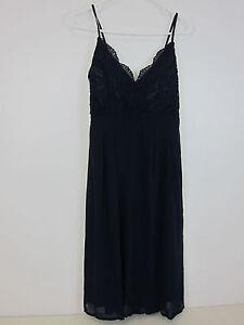 c08c5bd2dac3d Boohoo May Crochet Lace Top Chiffon Maxi Dress - Womens US 8 - Navy ...