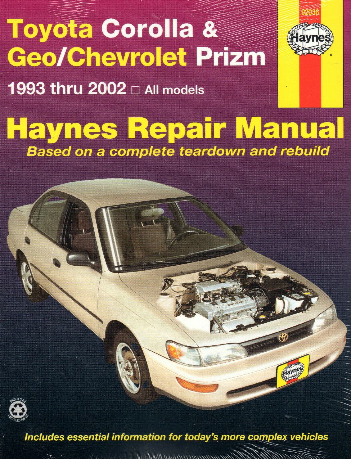 Haynes Manuals: Toyota Corolla and Geo/Chevrolet Prizm 1993 Thru 2002 by  John Haynes and Jay Storer (2002, Paperback) | eBay