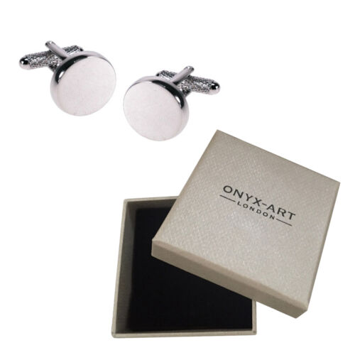 Mens Round Rhodium Silver Plain Cufflinks /& Gift Box For Engraving By Onyx Art