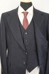 Daks Navy Blue Flannel VINTAGE 3 Piece Suit Jacket Pants Vest Sz 40R