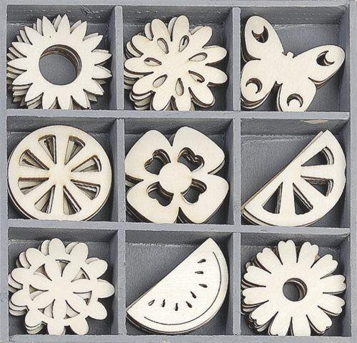 cArt-Us Mini Wooden Embellishment Box - Summer Garden - 45 pieces 3cm (set 29)