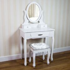 Nishano Dressing Table 3 Drawer Stool White Mirror Bedroom Makeup Desk Dresser