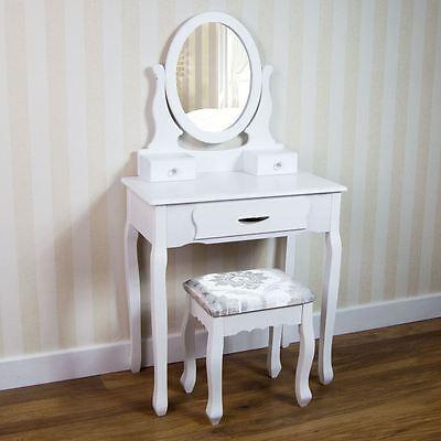 Nishano Dressing Table 3 Drawer Stool White Mirror Bedroom Makeup Desk Dresser