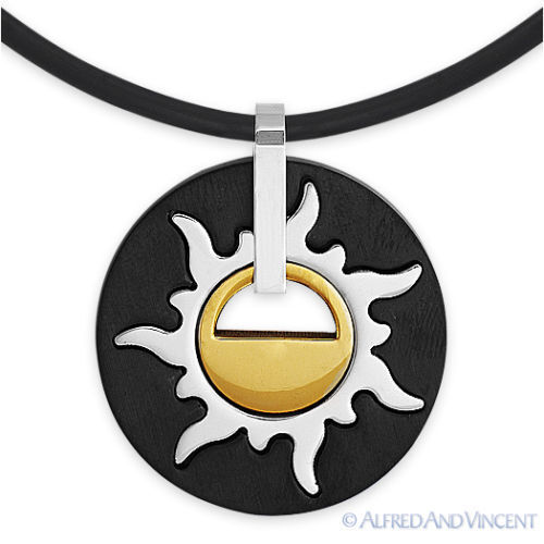 Stainless Steel Mayan Sun Tribal Native American Men/'s Pendant Charm Necklace