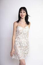 Neu Bandeau Dress Kleid Minikleid Häckel Spitze Weiß Boho Bohemian Blumen 34 36