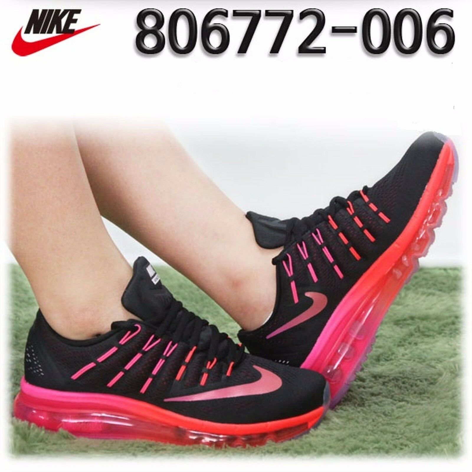NIKE Air Max 2016 Wmns Shoes Size 9.5 806772-006 Black/Multi-Color/Noble Red