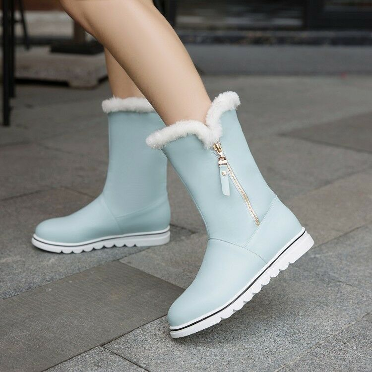 Women Round Toe Sweet Girl Flats Warm Fur Faux Leather Ankle Boots Winter Shoes