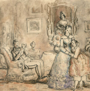 Harold Hope Read (1881-1959) - Pen and Ink Drawing, Family Interior Scene