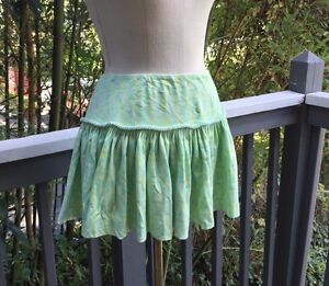 FREE-PEOPLE-Skirt-Cotton-Teal-Yellow-Green-Small