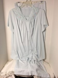 VTG-Shadowline-Womens-Silky-Nylon-Pajama-Pant-Set-Top-Bottoms-Sz-38-Large-Blue