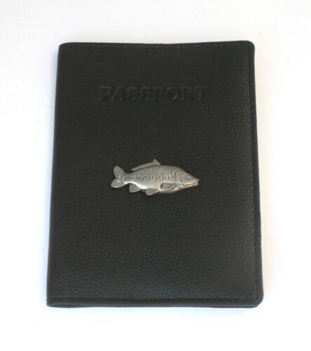 Miroir carpe cuir véritable Porte-passeport Pêche Cadeau