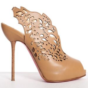 4e91030d54df Image is loading CHRISTIAN-LOUBOUTIN-Markesling-120-brown-leather-laser-cut-