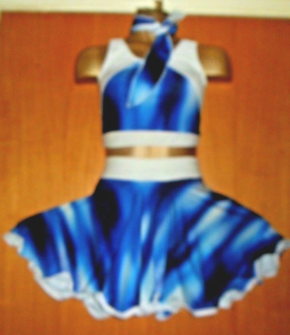 Blue/WHITE LYCRA/ ROCK AND ROLL 7/9 YEAR OLD COSTUME