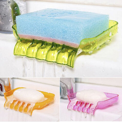 Suction Soap Dishes Sponge Holder Tray Storage Rack Kitchen Drain Sink E99