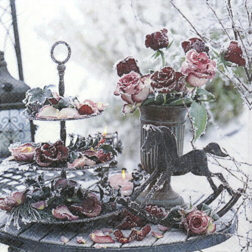 Frozen Roses 4x Paper Napkins for Decoupage Craft