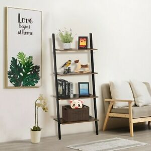 4-Tier-Leaning-Ladder-Shelf-Bookcase-Bookshelf-Storage-Shelves-Unit-Organizer