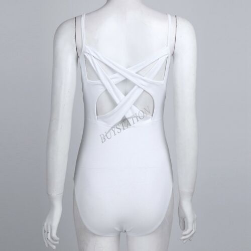 Womens Adult Ballet Leotard Dance Bodysuit Criss Cross Cami Gymnastics Dancewear