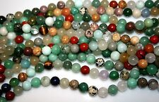 """MIXED GEMSTONES Agate,jasper, tiger's eye and more 8mm 39gr  16""""  9115"""