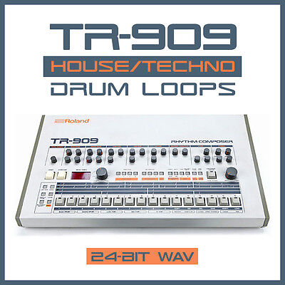 24-Bit WAV TR-909 Drum Machine Loops Samples Old School Techno Rave House