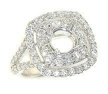 1-56CT-SPLITTED-SHANK-CUSHION-DOUBLE-HALO-DIAMOND-Mounting-RING-Setting-14KW
