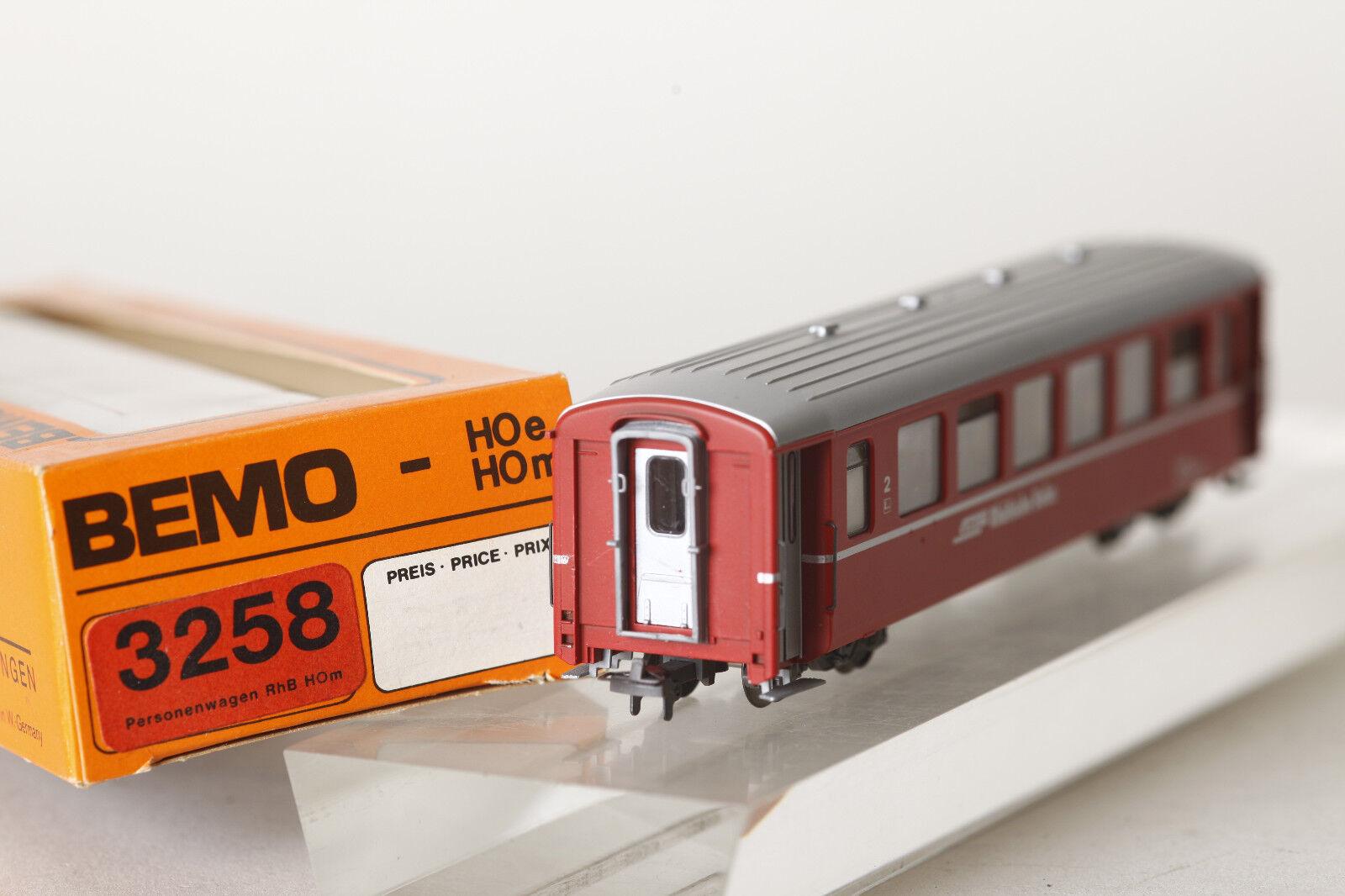 BEMO h0m 3258 vagoni RHB Rhätische Bahn B 2458 2.kl ROSSO  90220