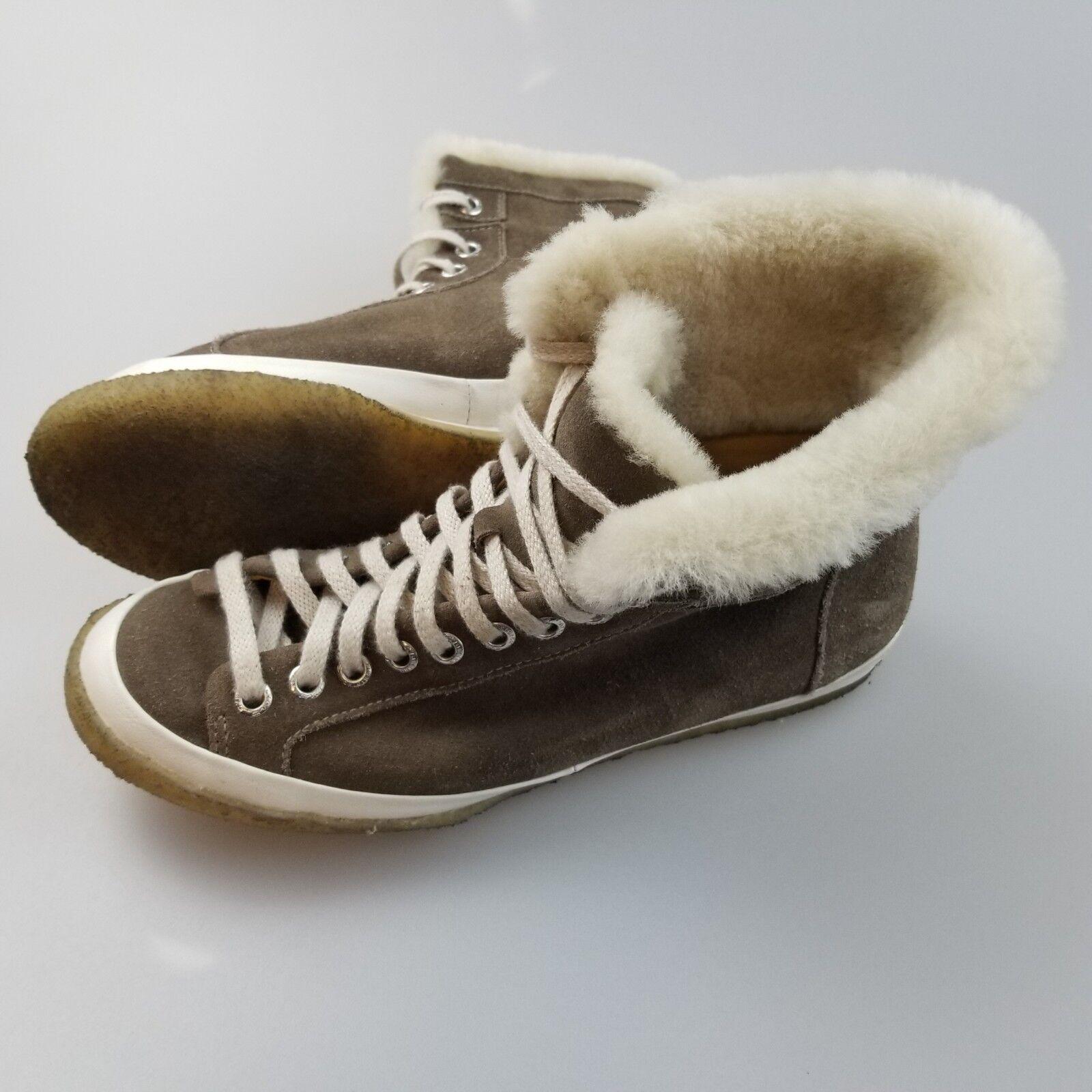 CLARKS Originals Suede Lamb Shearling Crepe Sole Lace Lace Lace Up Boots Women's US 7 9d6d9a